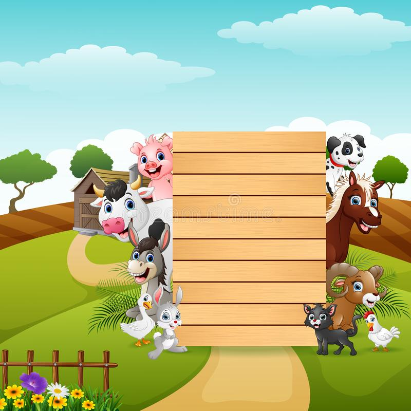 Happy farm animals with blank sign bamboo royalty free illustration