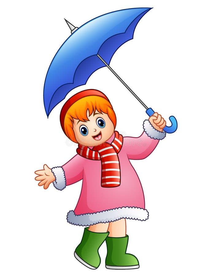 Happy girl under umbrella royalty free illustration