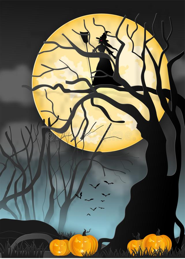 Illustration of happy halloween, witches in a scary dark mystery. And the dead trees under the moonlight. paper art and digital craft style stock illustration