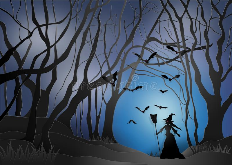 Illustration of happy halloween, witches in a scary dark mystery. Forest. paper art and digital craft style vector illustration