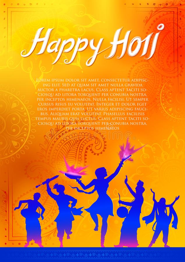 Happy Holi Background for Festival of Colors celebration greetings. Illustration of Happy Holi Background for Festival of Colors celebration greetings stock illustration