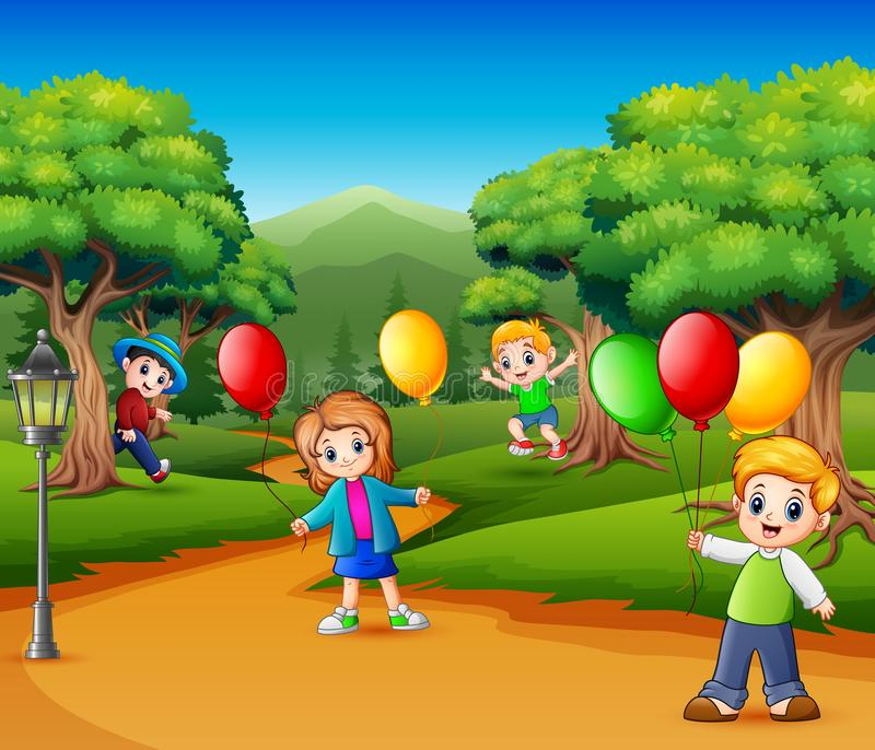 Kids Playing In The Garden Illustration Royalty Free Cliparts, Vectors, And  Stock Illustration. Image 66903420.