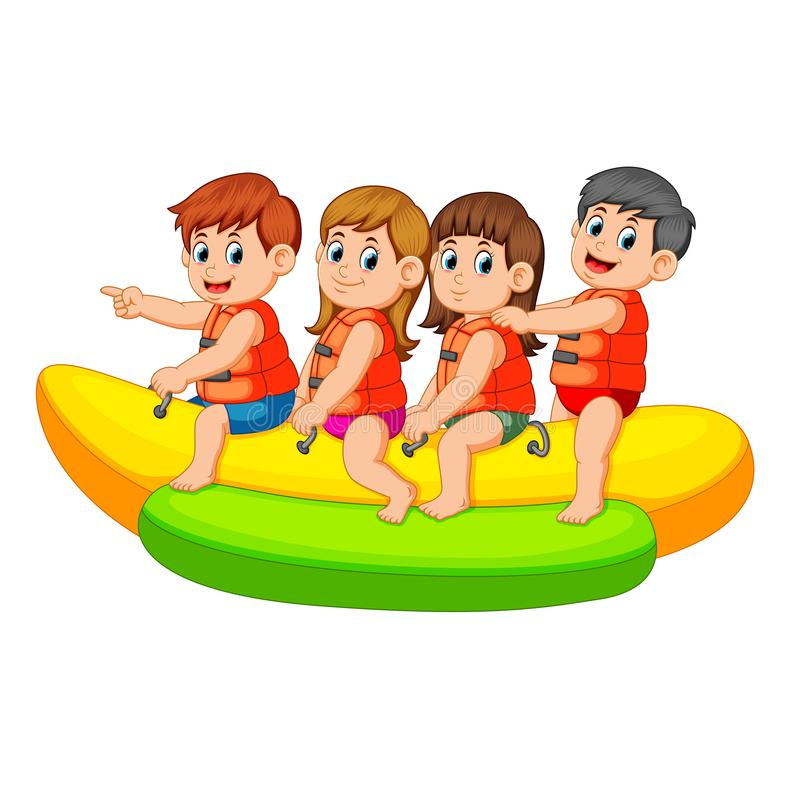 Happy kids ride on banana boat stock illustration