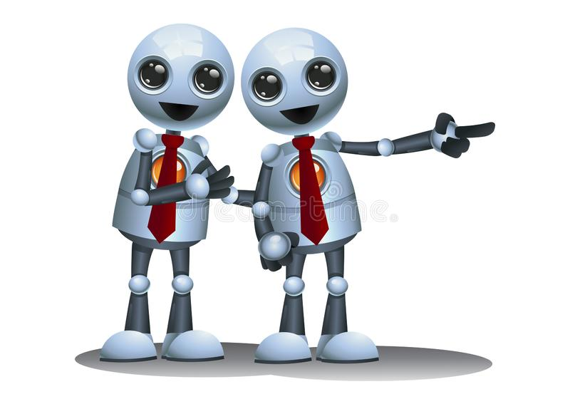 little robot business partner on isolated white background royalty free illustration