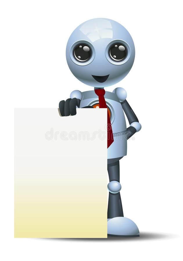 Little robot businessman presenting blank board royalty free illustration