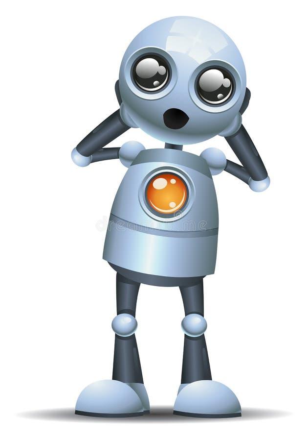 Little robot emotion in awe. Illustration of a happy little robot emotion in awe on isolated white background stock illustration