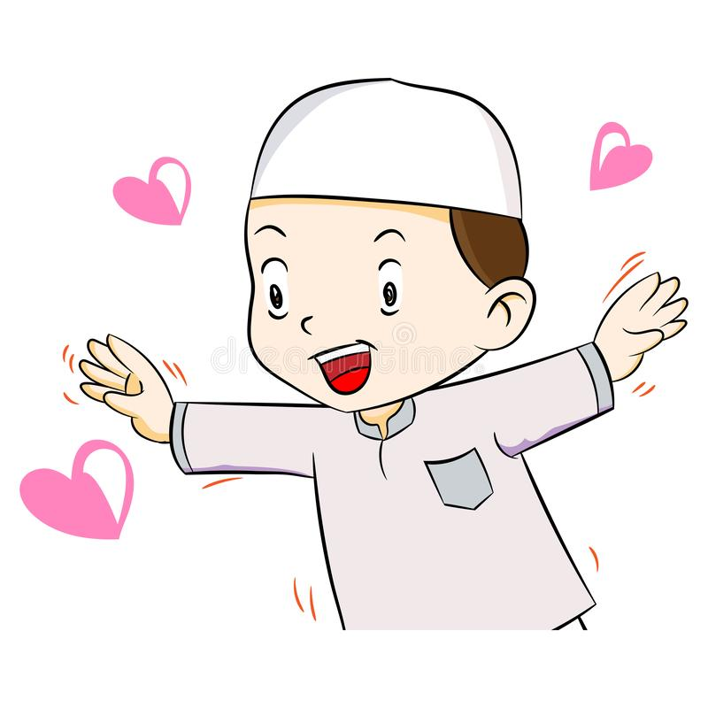 Illustration of Happy muslim boy, Vector Illustration. Illustration of Happy muslim boy with heart shape, isolated on white background, Vector Illustration vector illustration