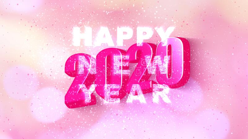 Illustration Happy new year 2020 with text simple shadow style with pink color bokeh blur and firework Animation.Motion graphic. Element decoration modern vector illustration