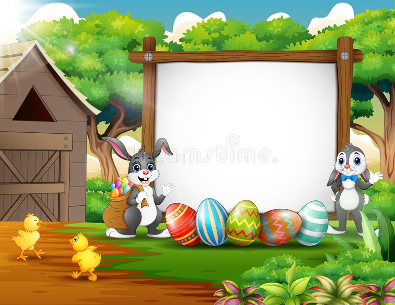 Happy rabbit and chicken with easter background stock illustration