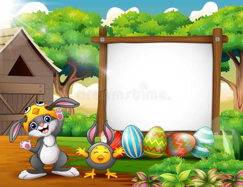 Happy rabbit and chicken with easter background royalty free illustration