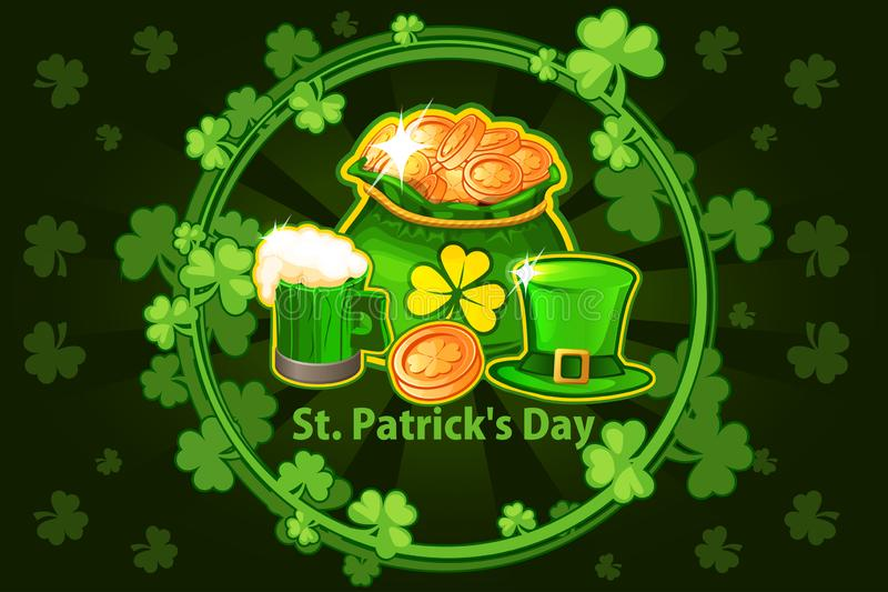 Cartoon hat, beer glass, coin and money bag. Vector round frame with shamrock leaves. Illustration For Happy St. Patrick Day. royalty free illustration