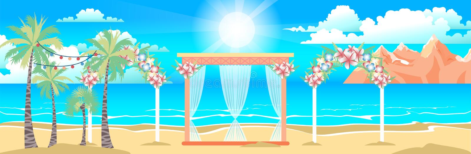 Illustration of happy sunny summer day at the beach with wedding. Stock vector illustration of happy sunny summer day at the beach with wedding entourage on the vector illustration
