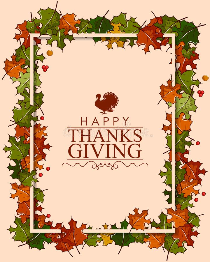 Happy Thanksgiving background with maple leaves vector illustration