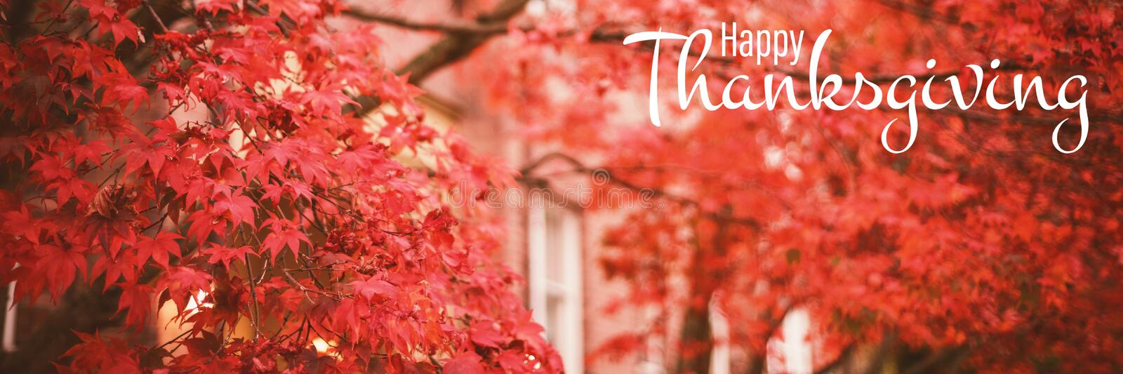 Composite image of illustration of happy thanksgiving day text greeting. Illustration of happy thanksgiving day text greeting against low angle view of autumn royalty free illustration
