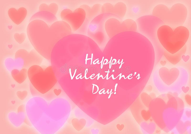 Happy valentines day. Be My Valentine. Valentine card I Love YOU, Be My Valentine. Pink floral backdrop with hearts. Bokeh. Illustration happy valentines day vector illustration