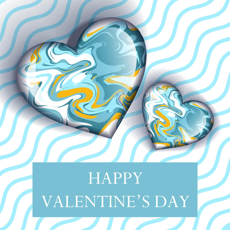 Illustration happy valentines day greetings with candy heart shape. On pink wave line stock illustration