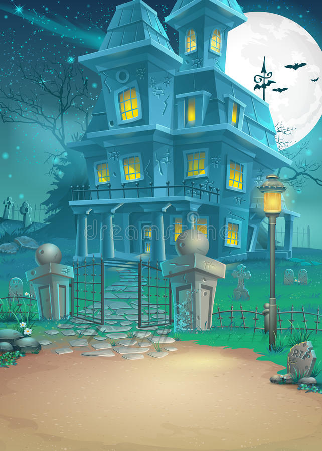 Illustration of a haunted house on a moonlit night royalty free illustration