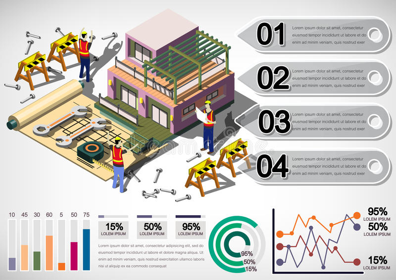 Illustration Haus-Strukturkonzeptes der Informationen des grafischen vektor abbildung