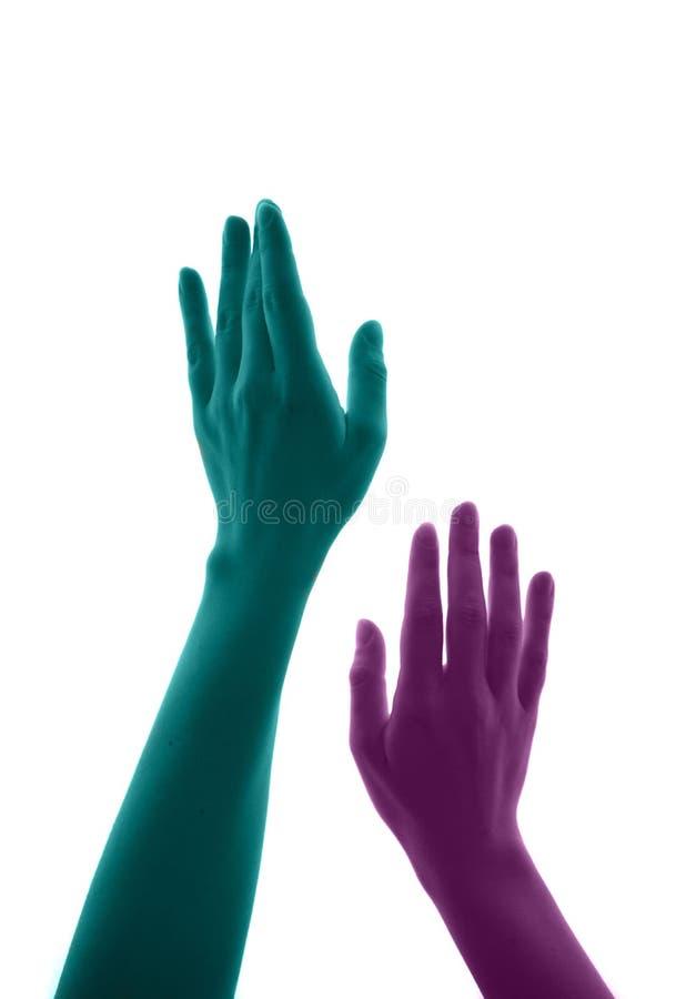 Illustration haute étroite des bras des femmes se déplaçant vers le haut pour simuler la convoitise images libres de droits