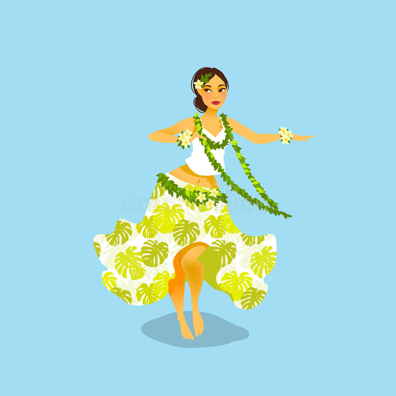 Illustration of a Hawaiian hula dancer woman. In dress with tropic pattern stock illustration