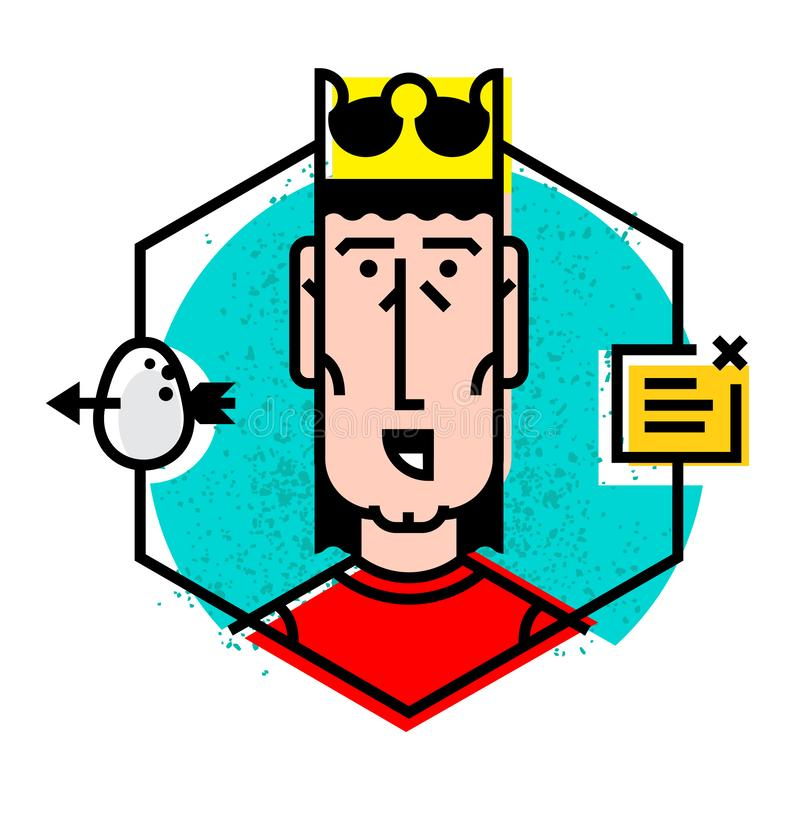 Illustration of the head in a flat style. Vector icon isolated on white background. The image of the boss, the boss is ready for royalty free illustration