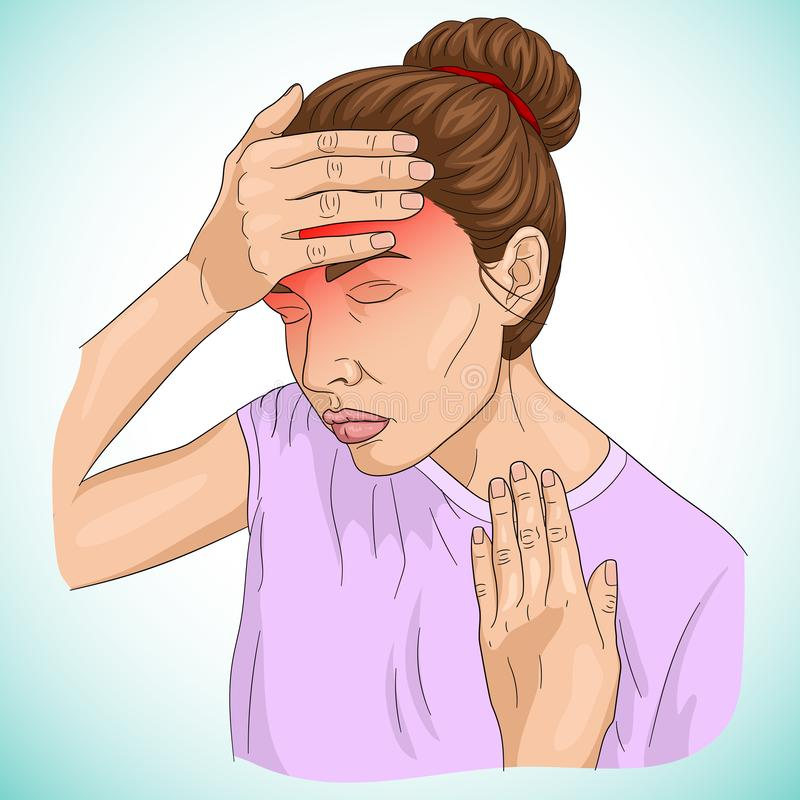 Illustration of headache shown on a women body. On gradient background stock illustration