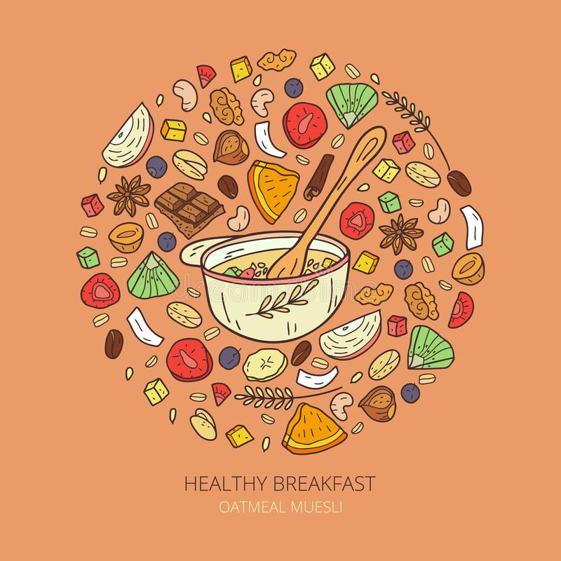 Illustration of healthy oatmeal muesli. Healthy granola food for breakfast organic snack. Cartoon vector sketch of oatmeal muesli stock illustration