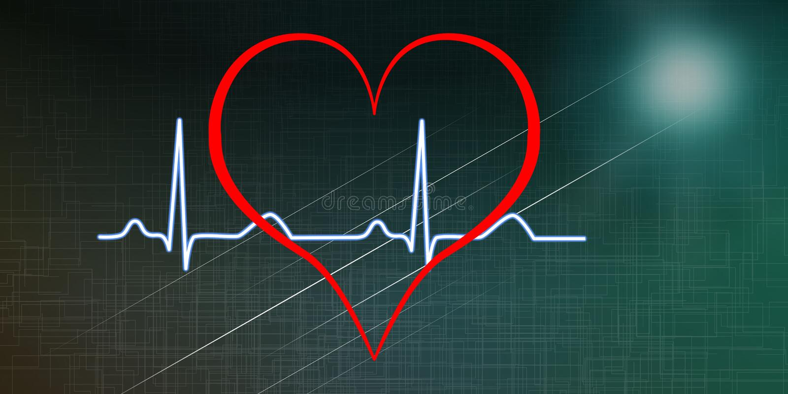 Concept of a heart beats graph stock illustration