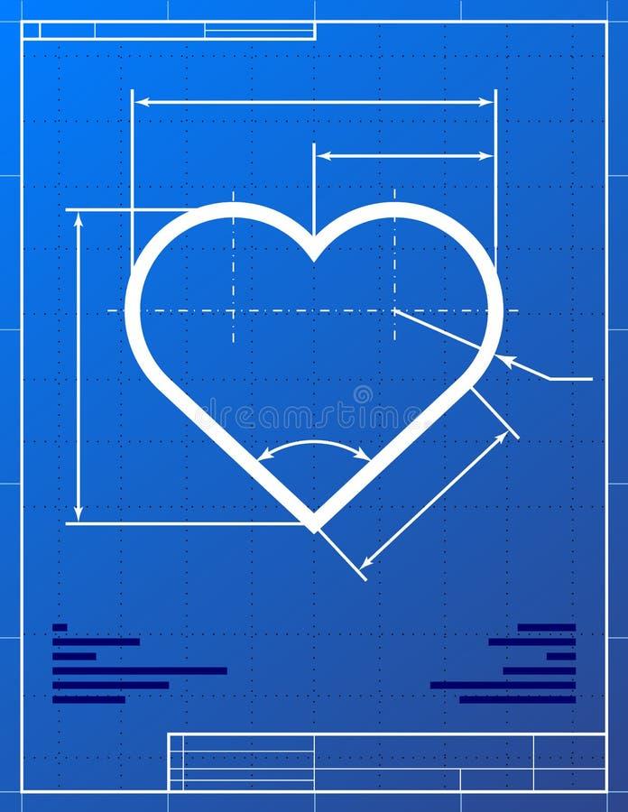 Illustration of heart like blueprint drawing