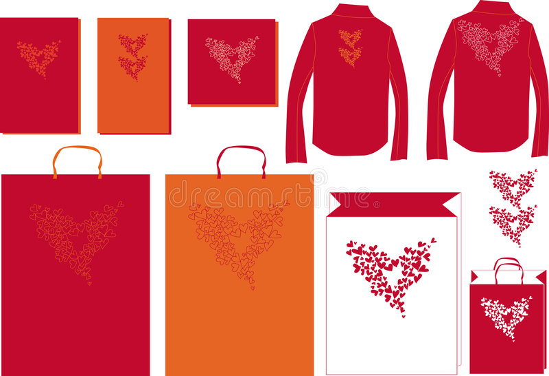 Illustration Heart Together Bag Postcard Royalty Free Stock Photography