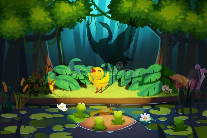 Illustration: Hello, Friends, I'm little ugly duckling! vector illustration