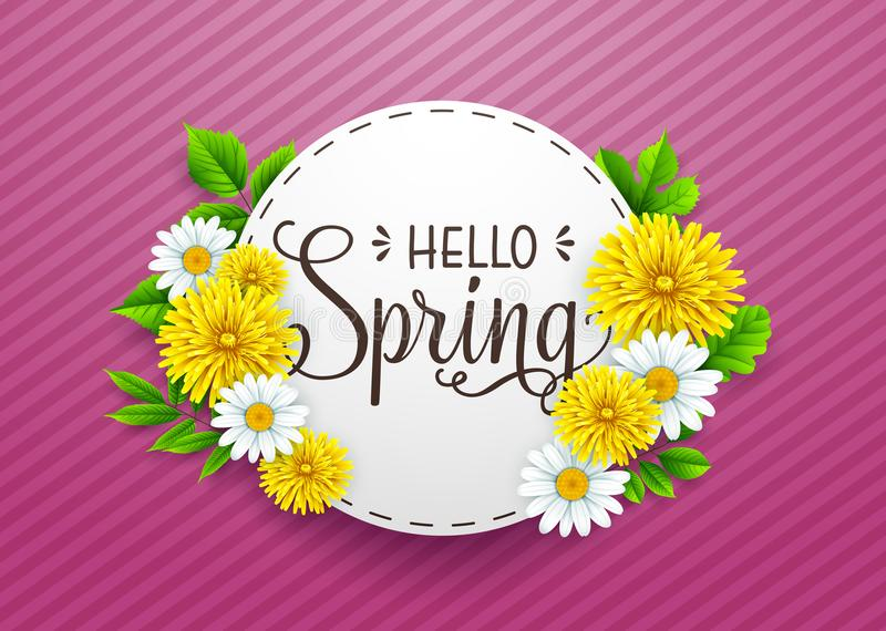Hello spring time banner with round frame, on striped purple background royalty free illustration