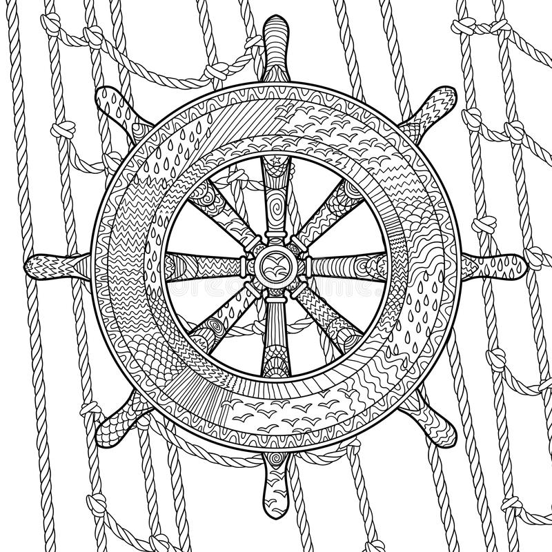 Illustration of an helm in the zentangle style. Hand drawn illustration of an helm in the zentangle style. Adult antistress coloring page with marine handwheel royalty free illustration
