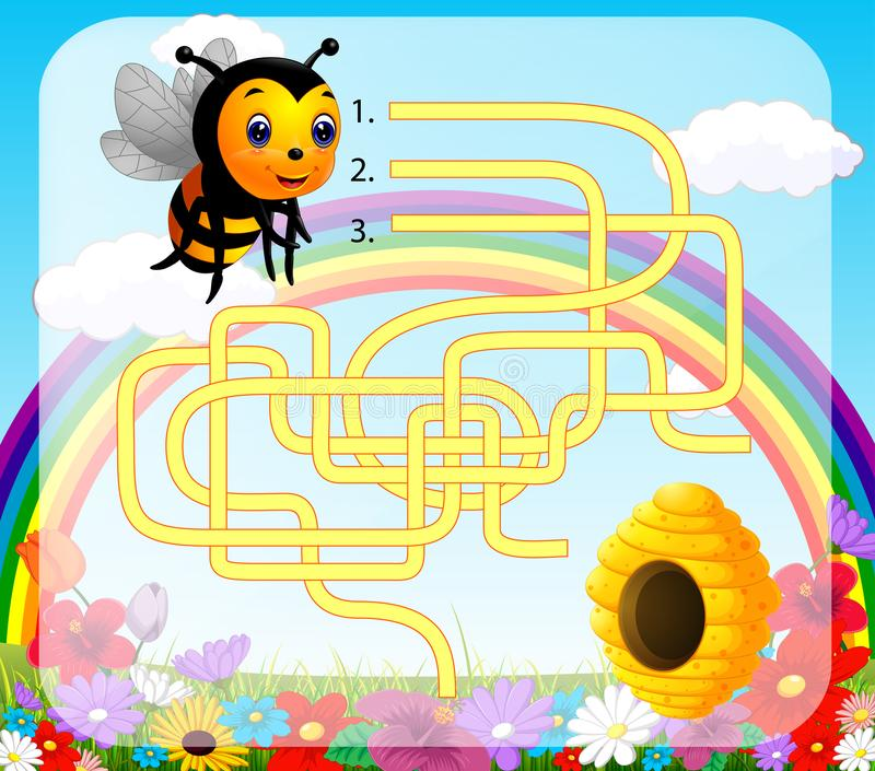 Help bee find path to beehive stock illustration