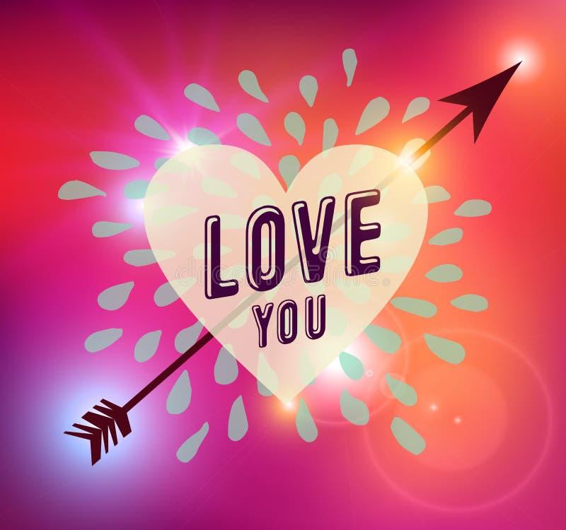 Illustration heureuse d'amour de coeur de jour de valentines illustration stock