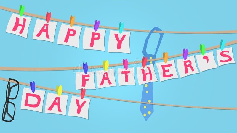 Illustration heureuse de carte de voeux de jour de pères, corde à linge style illustration libre de droits