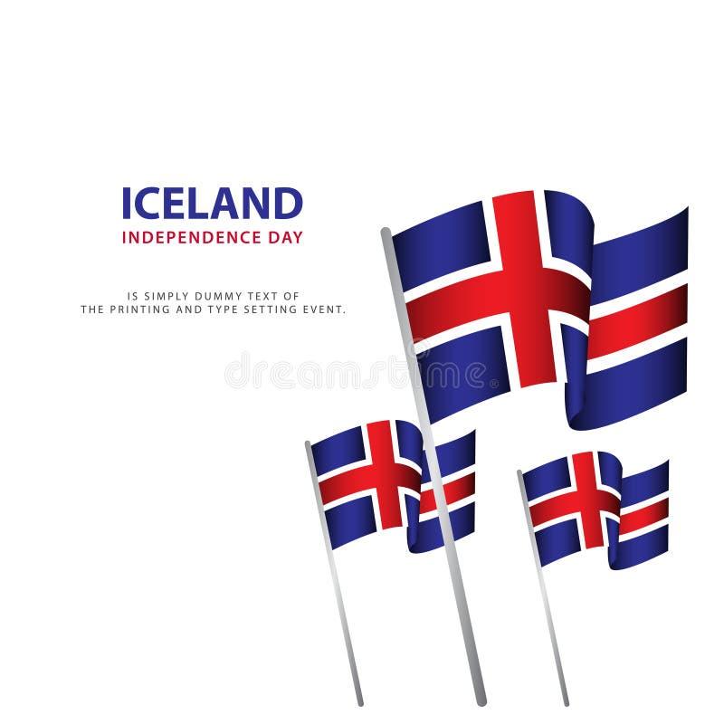 Illustration heureuse de conception de calibre d'affiche de célébration de Jour de la Déclaration d'Indépendance de l'Islande illustration stock