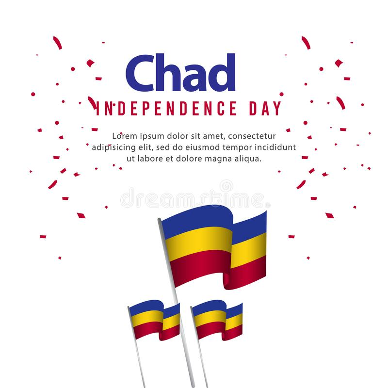 Illustration heureuse de conception de calibre de vecteur de Chad Independence Day Celebration Poster illustration stock