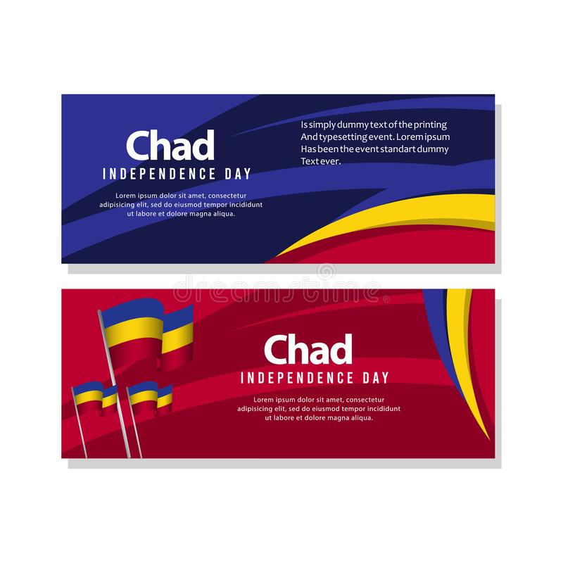 Illustration heureuse de conception de calibre de vecteur de Chad Independence Day Celebration Poster illustration libre de droits