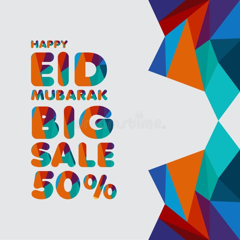 Illustration heureuse de conception de calibre de vecteur d'Eid Mubarak Big Sale 50% illustration libre de droits