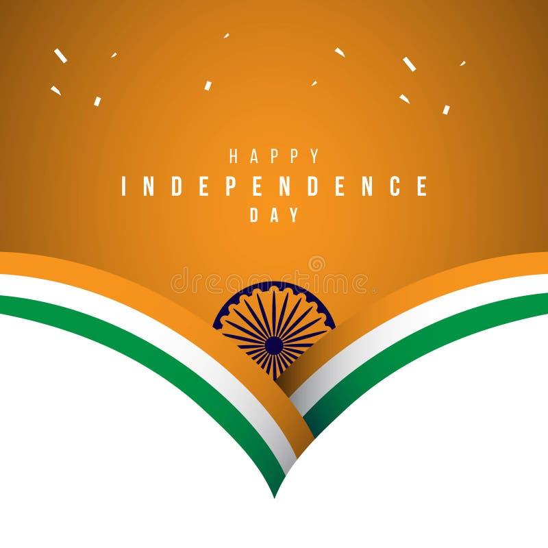 Illustration heureuse de conception de calibre de vecteur de Jour de la Déclaration d'Indépendance de l'Inde illustration stock