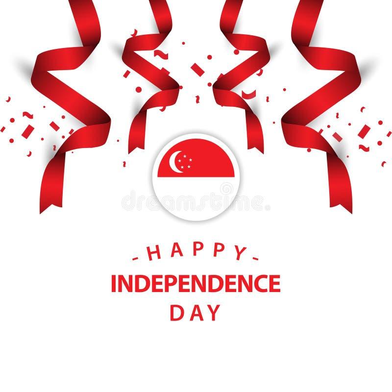 Illustration heureuse de conception de calibre de vecteur de Jour de la Déclaration d'Indépendance de Singapour illustration de vecteur