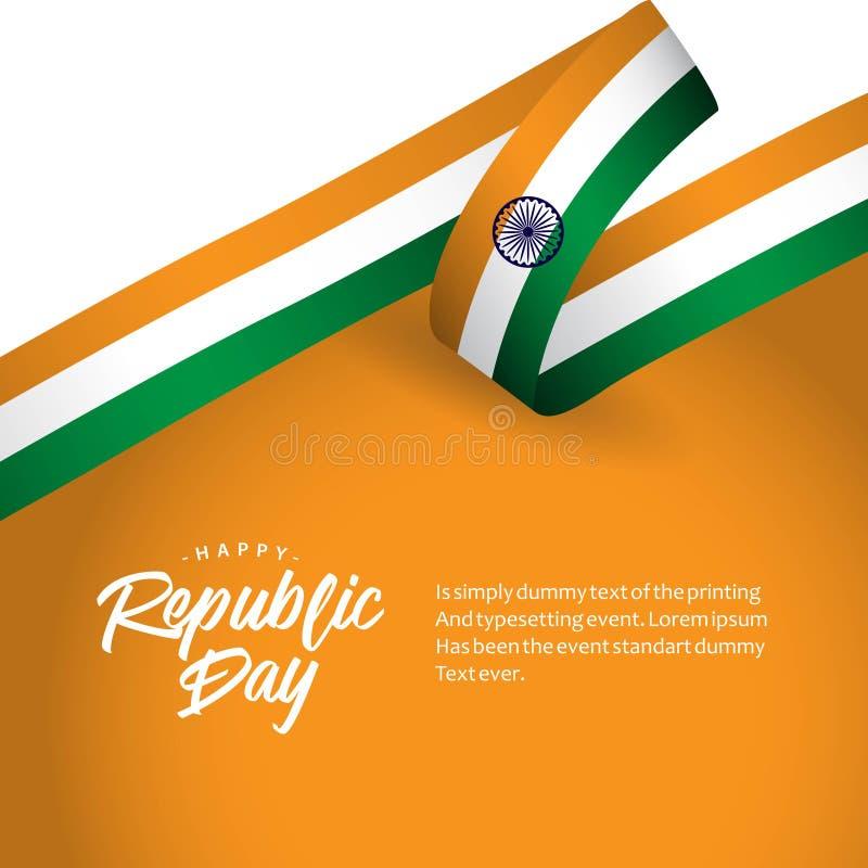 Illustration heureuse de conception de vecteur de jour de République de l'Inde illustration libre de droits