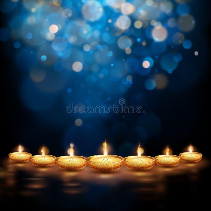 Illustration heureuse de Diwali de diya brûlant Fond de vacances ENV 10 illustration libre de droits