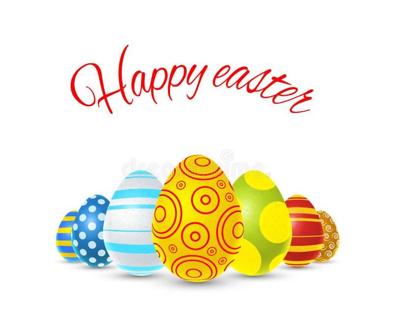 Illustration heureuse de Pâques avec les oeufs colorés sur le blanc illustration stock