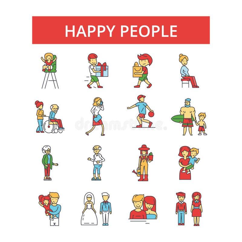 Illustration heureuse de personnes, ligne mince icônes, signes plats linéaires, symboles de vecteur illustration libre de droits
