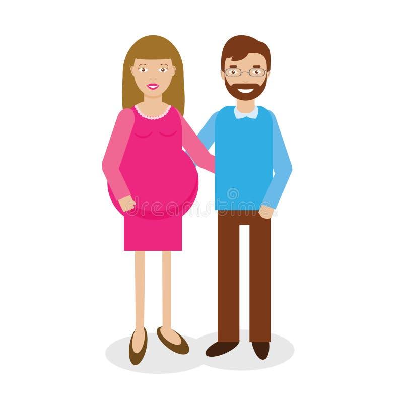 Illustration heureuse de vecteur d'homme et de femme de grossesse illustration de vecteur