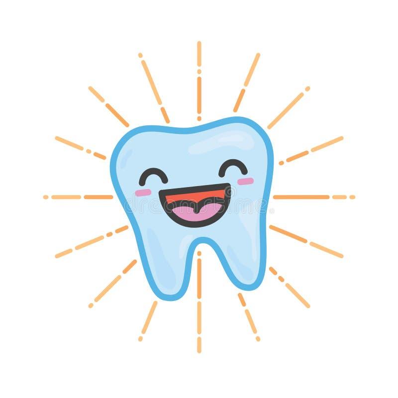 Illustration heureuse de vecteur de kawaii de dent illustration de vecteur