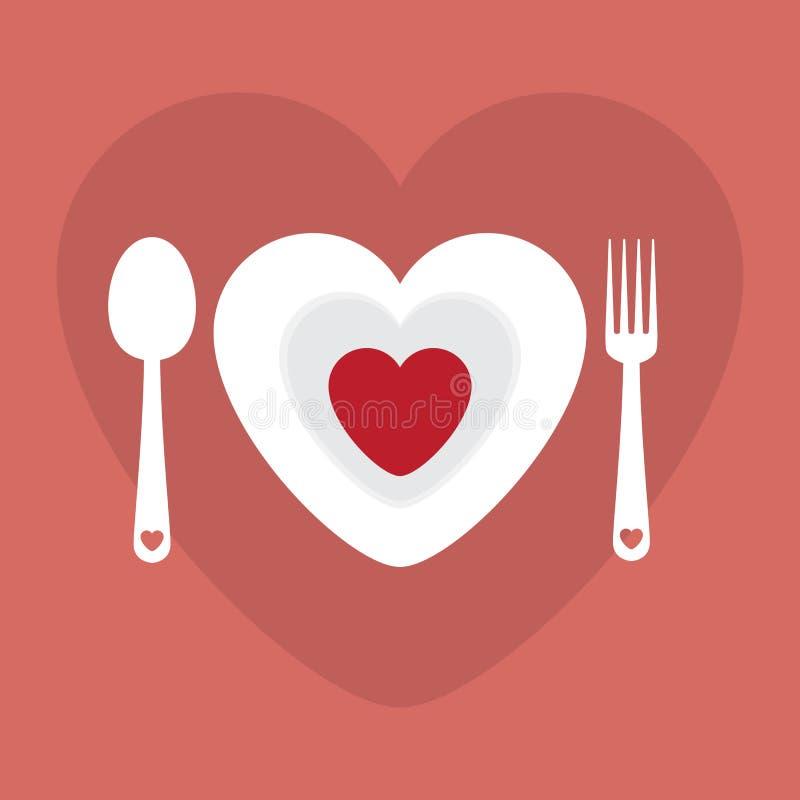 Illustration heureuse de vecteur de Valentine Day de menu romantique de dîner d'amour de carte de voeux Conception de modèle Inse illustration libre de droits