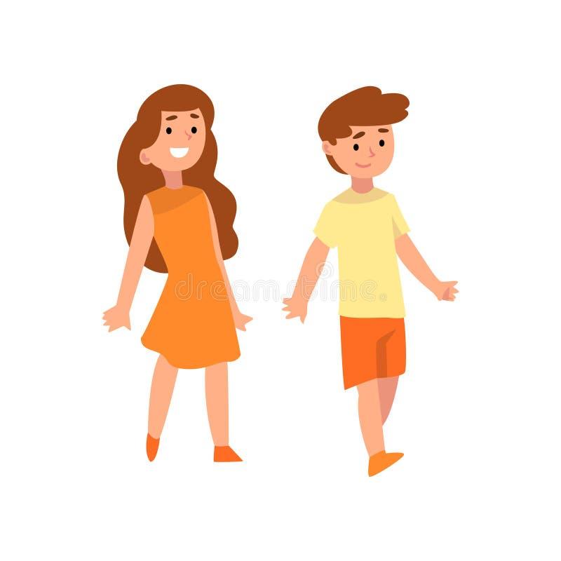 Illustration heureuse de vecteur de garçon et de fille, de frère et de sisiter illustration libre de droits
